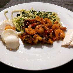 Polvo com camarão e esparguete de courgette