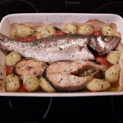 Robalo e salmão no forno